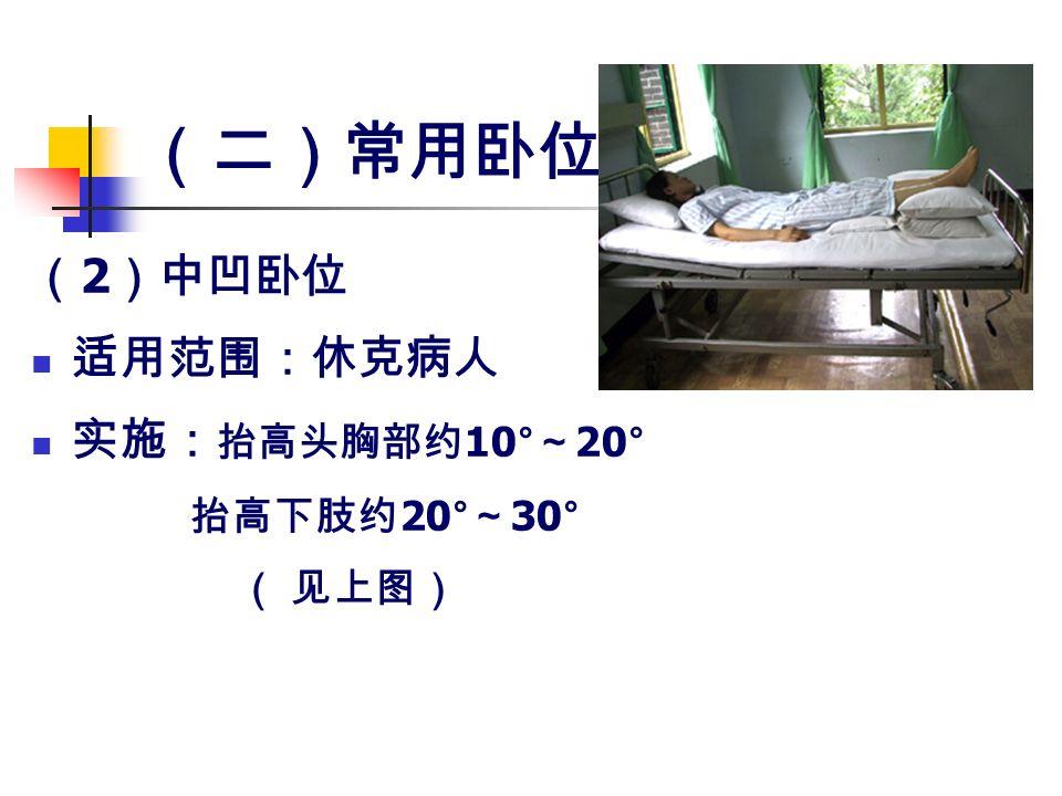 (二)常用卧位 ( 2 )中凹卧位 适用范围:休克病人 实施: 抬高头胸部约 10° ~ 20° 抬高下肢约 20° ~ 30° ( 见上图)