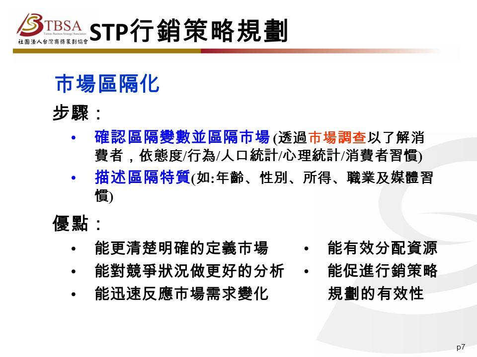 p7 步驟: 確認區隔變數並區隔市場 ( 透過市場調查以了解消 費者,依態度 / 行為 / 人口統計 / 心理統計 / 消費者習慣 ) 描述區隔特質 ( 如 : 年齡、性別、所得、職業及媒體習 慣 ) 優點: 能更清楚明確的定義市場 能對競爭狀況做更好的分析 能迅速反應市場需求變化 市場區隔化 STP 行銷策略規劃 能有效分配資源 能促進行銷策略 規劃的有效性