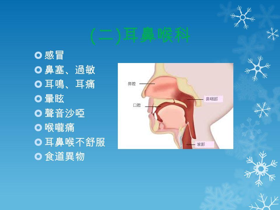 ( 二 ) 耳鼻喉科  感冒  鼻塞、過敏  耳鳴、耳痛  暈眩  聲音沙啞  喉嚨痛  耳鼻喉不舒服  食道異物