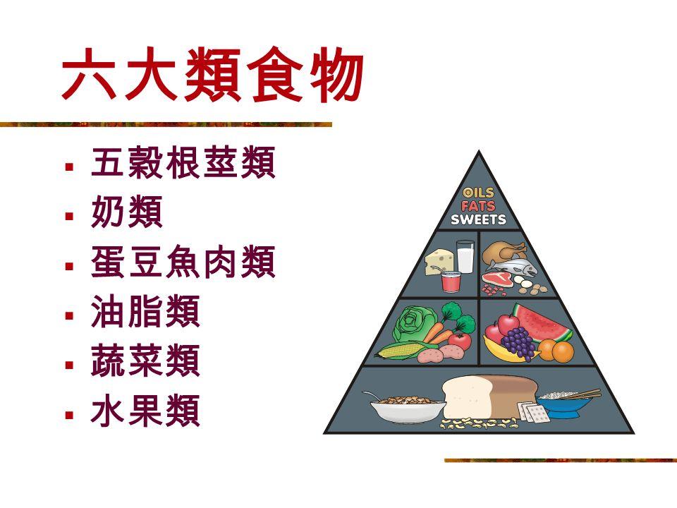 六大營養素 蛋白質 脂肪 醣類 維生素 礦物質 水