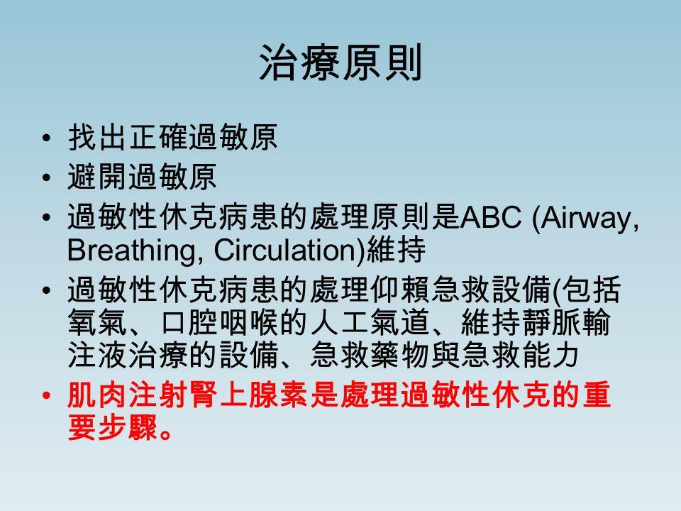 治療原則 找出正確過敏原 避開過敏原 過敏性休克病患的處理原則是 ABC (Airway, Breathing, Circulation) 維持 過敏性休克病患的處理仰賴急救設備 ( 包括 氧氣、口腔咽喉的人工氣道、維持靜脈輸 注液治療的設備、急救藥物與急救能力 肌肉注射腎上腺素是處理過敏性休克的重 要步驟。