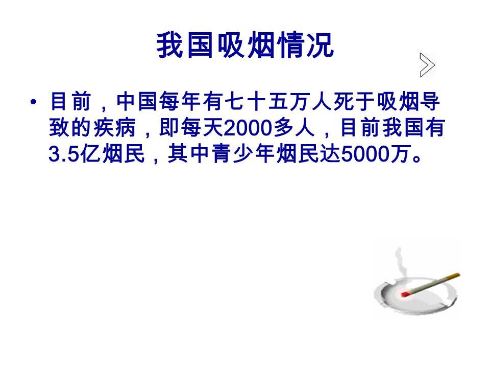 我国吸烟情况 目前,中国每年有七十五万人死于吸烟导 致的疾病,即每天 2000 多人,目前我国有 3.5 亿烟民,其中青少年烟民达 5000 万。
