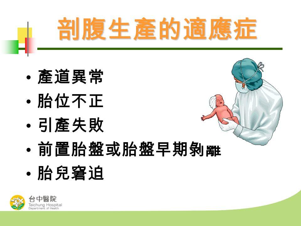 剖腹生產的適應症 產道異常 胎位不正 引產失敗 前置胎盤或胎盤早期剝離 胎兒窘迫