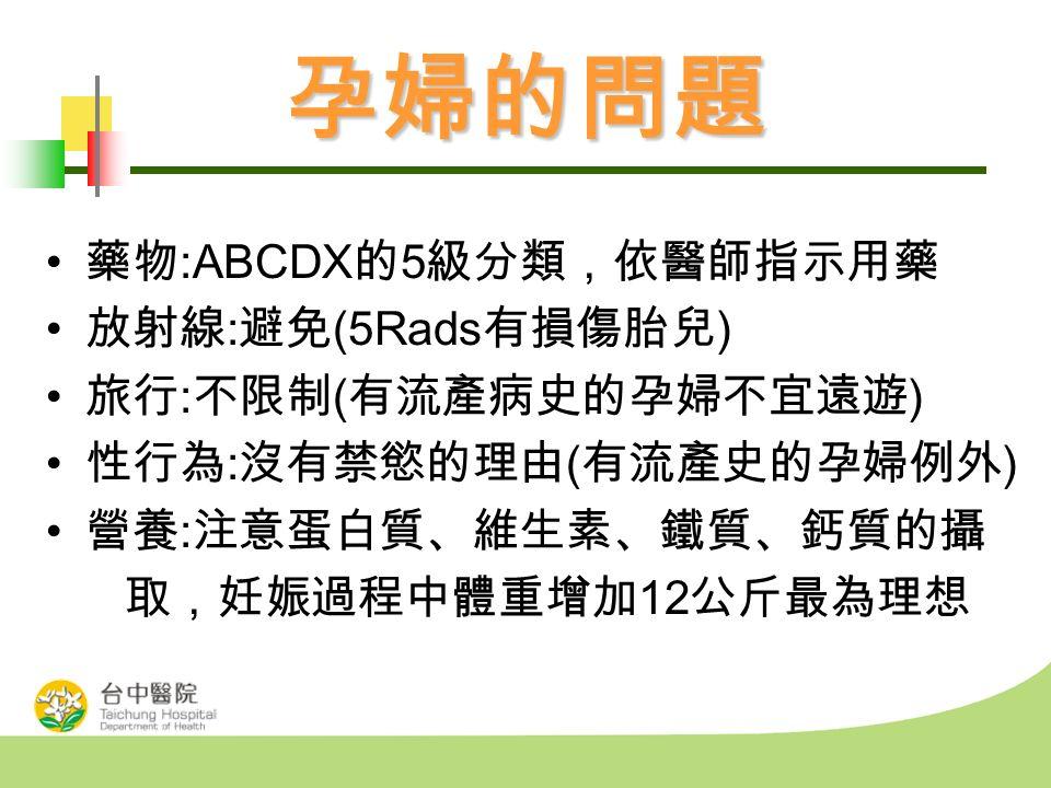 孕婦的問題 藥物 :ABCDX 的 5 級分類,依醫師指示用藥 放射線 : 避免 (5Rads 有損傷胎兒 ) 旅行 : 不限制 ( 有流產病史的孕婦不宜遠遊 ) 性行為 : 沒有禁慾的理由 ( 有流產史的孕婦例外 ) 營養 : 注意蛋白質、維生素、鐵質、鈣質的攝 取,妊娠過程中體重增加 12 公斤最為理想