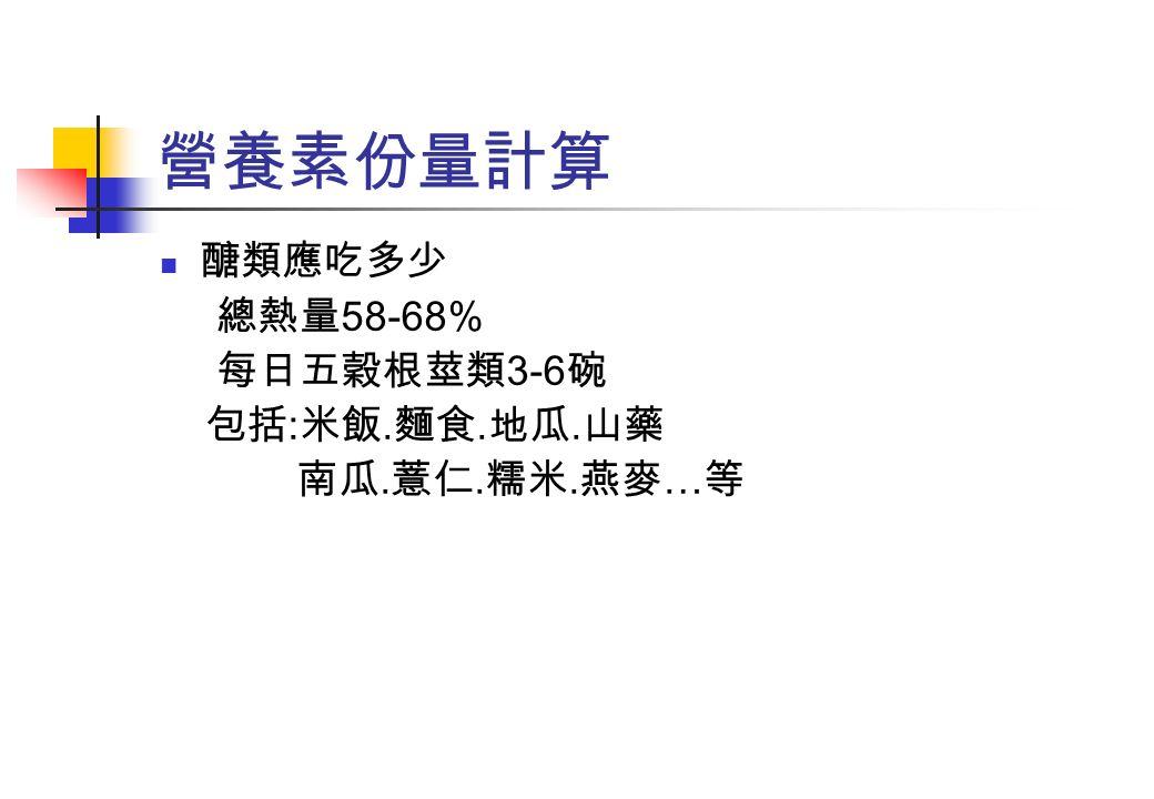 營養素份量計算 醣類應吃多少 總熱量 58-68% 每日五穀根莖類 3-6 碗 包括 : 米飯. 麵食. 地瓜. 山藥 南瓜. 薏仁. 糯米. 燕麥 … 等