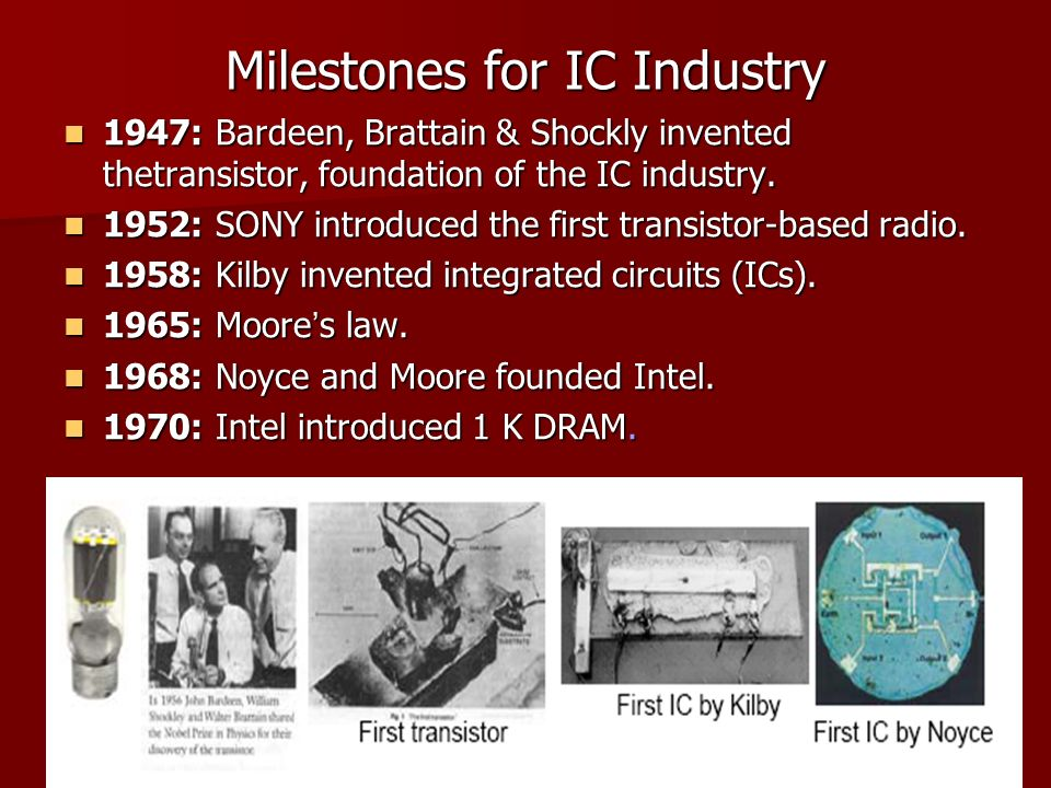 Milestones for IC Industry 1947: Bardeen, Brattain & Shockly invented thetransistor, foundation of the IC industry.