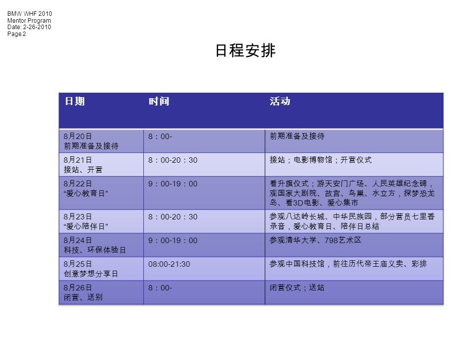 BMW WHF 2010 Mentor Program Date: Page 2 日程安排