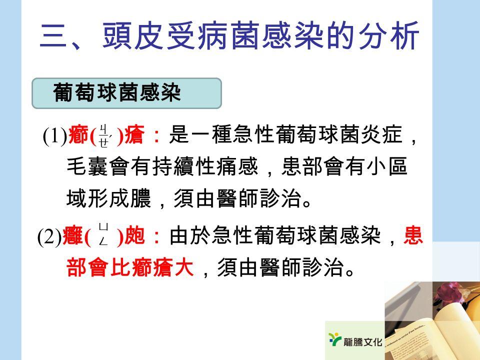 三、頭皮受病菌感染的分析 (1) 癤 ( ) 瘡:是一種急性葡萄球菌炎症, 毛囊會有持續性痛感,患部會有小區 域形成膿,須由醫師診治。 (2) 癰 ( ) 皰:由於急性葡萄球菌感染,患 部會比癤瘡大,須由醫師診治。 葡萄球菌感染 ㄐㄧㄝㄐㄧㄝ ˊ ㄩㄥㄩㄥ