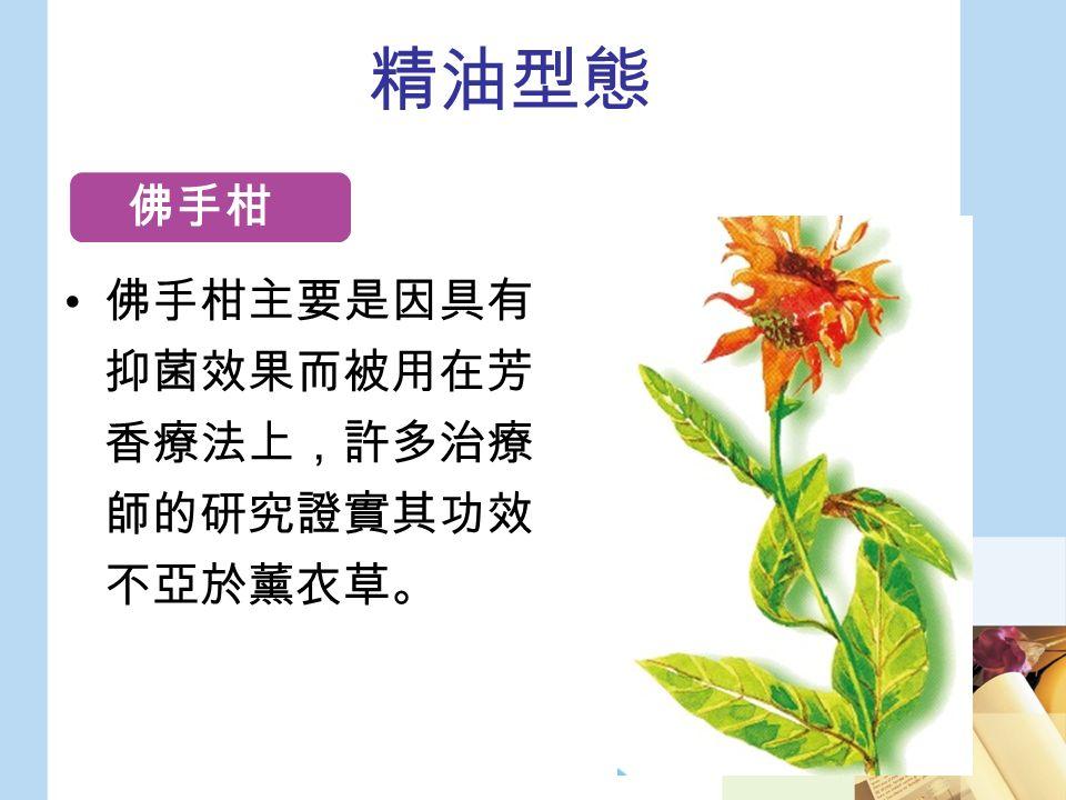 精油型態 佛手柑主要是因具有 抑菌效果而被用在芳 香療法上,許多治療 師的研究證實其功效 不亞於薰衣草。 佛手柑