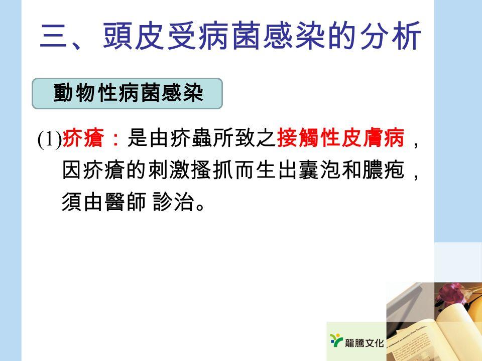 三、頭皮受病菌感染的分析 (1) 疥瘡:是由疥蟲所致之接觸性皮膚病, 因疥瘡的刺激搔抓而生出囊泡和膿疱, 須由醫師 診治。 動物性病菌感染