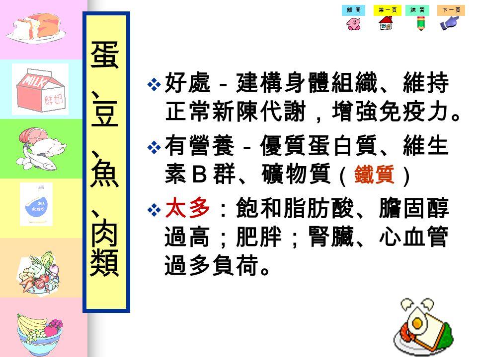 第一頁練習下一頁離開 含含有豐富的蛋白質 蛋 豆腐豆腐 魚 肉