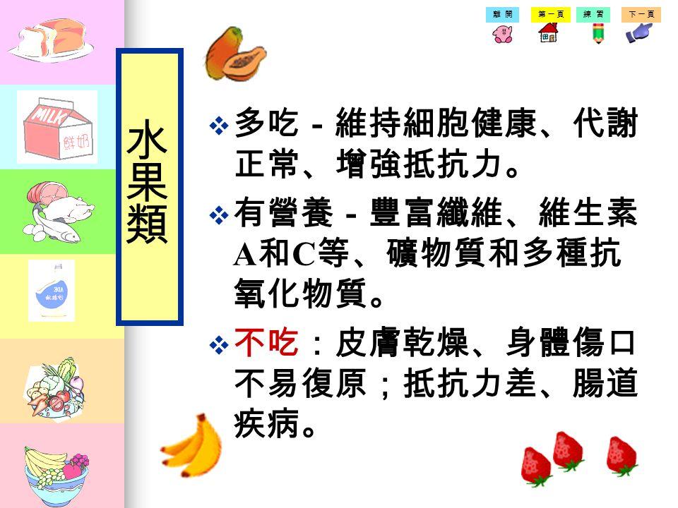第一頁練習下一頁離開 提提供維生素、礦物質與纖維 蘋果 鳳梨 香蕉 西瓜 葡萄柚 葡萄葡萄
