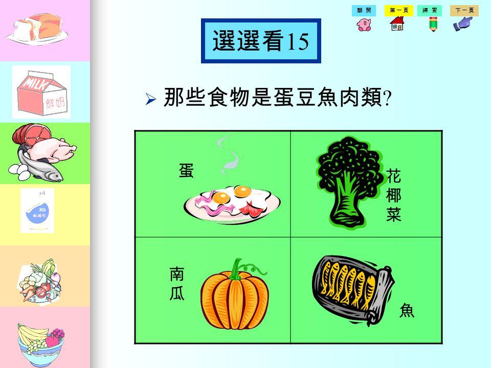 第一頁練習下一頁離開 選選看 14 那那些食物是油脂類 沙拉油 蘋果 南瓜南瓜 發酵 乳