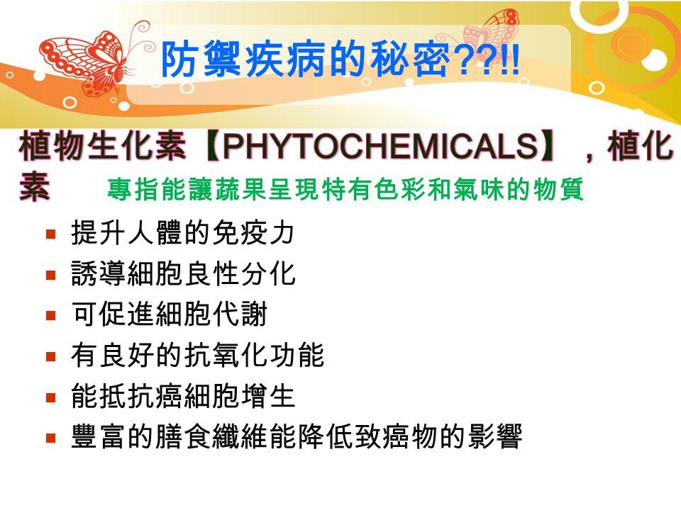 攝取蔬菜水果的好處 蔬果 579 ,健康久久久  富含維生素、礦物質及膳食纖維等  富含植化素(如:類黃酮、花青素、多酚 類等天然抗氧化物質)  熱量低