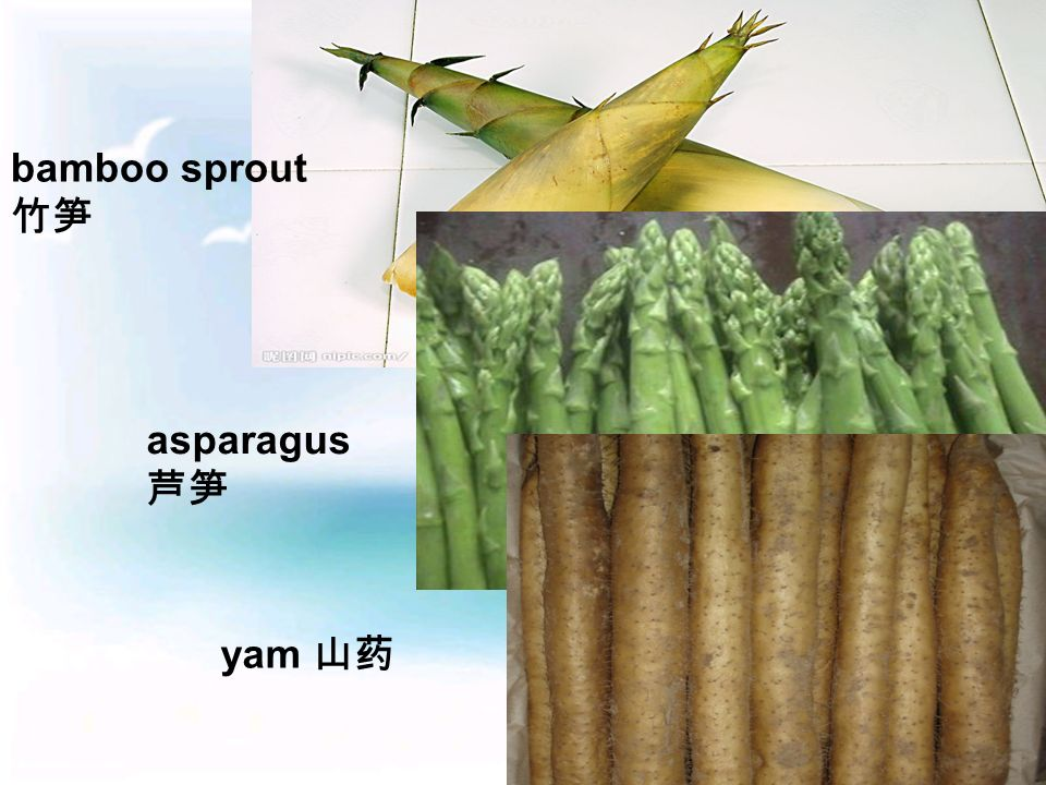 bamboo sprout 竹笋 asparagus 芦笋 yam 山药