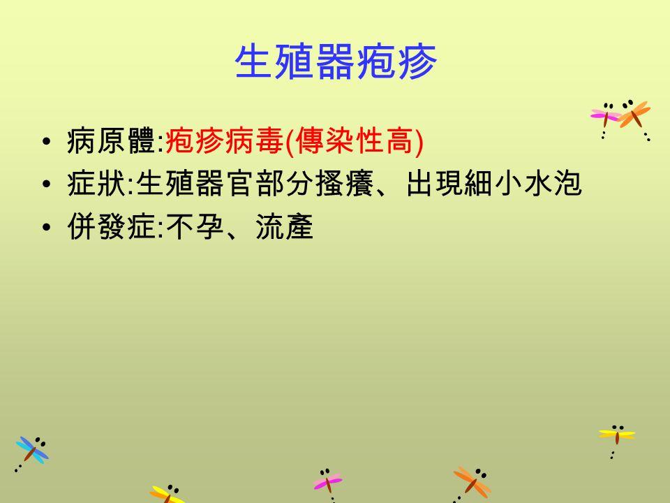 生殖器疱疹 病原體 : 疱疹病毒 ( 傳染性高 ) 症狀 : 生殖器官部分搔癢、出現細小水泡 併發症 : 不孕、流產
