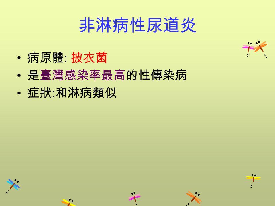 非淋病性尿道炎 病原體 : 披衣菌 是臺灣感染率最高的性傳染病 症狀 : 和淋病類似