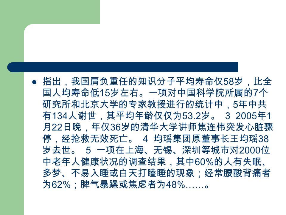 指出,我国肩负重任的知识分子平均寿命仅 58 岁,比全 国人均寿命低 15 岁左右。一项对中国科学院所属的 7 个 研究所和北京大学的专家教授进行的统计中, 5 年中共 有 134 人谢世,其平均年龄仅仅为 53.2 岁。 3 2005 年 1 月 22 日晚,年仅 36 岁的清华大学讲师焦连伟突发心脏骤 停,经抢救无效死亡。 4 均瑶集团原董事长王均瑶 38 岁去世。 5 一项在上海、无锡、深圳等城市对 2000 位 中老年人健康状况的调查结果,其中 60% 的人有失眠、 多梦、不易入睡或白天打瞌睡的现象;经常腰酸背痛者 为 62% ;脾气暴躁或焦虑者为 48% …… 。