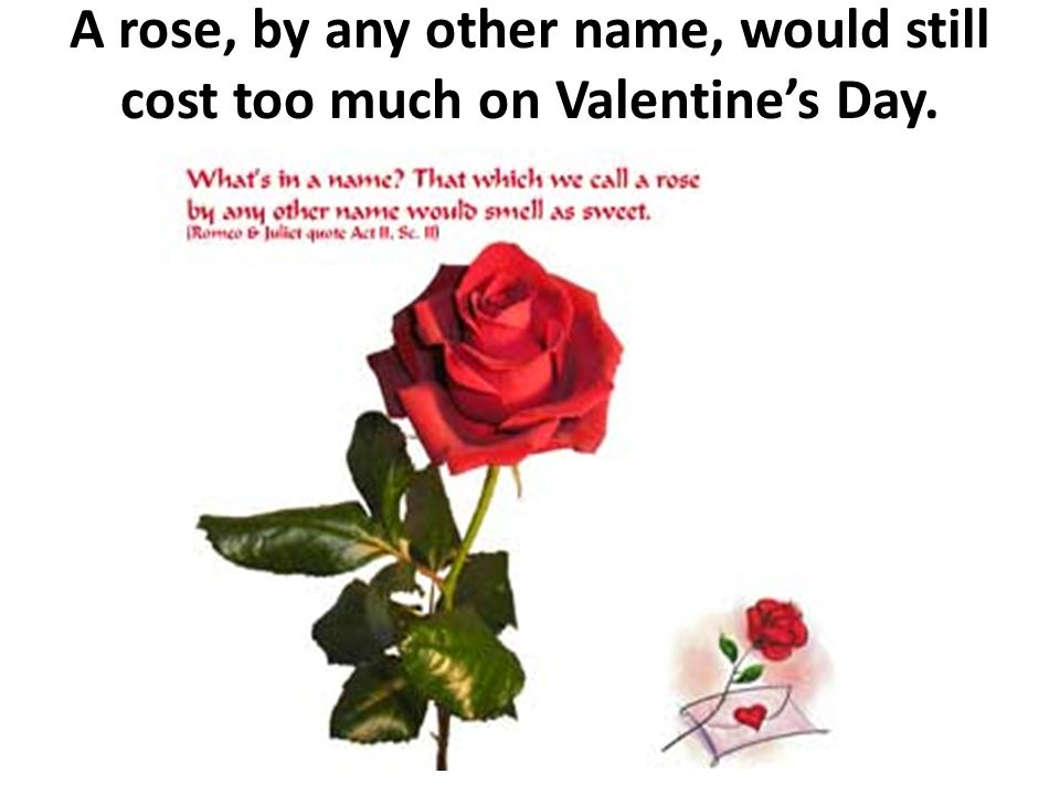 A rose, by any other name, would still cost too much on Valentine's Day.