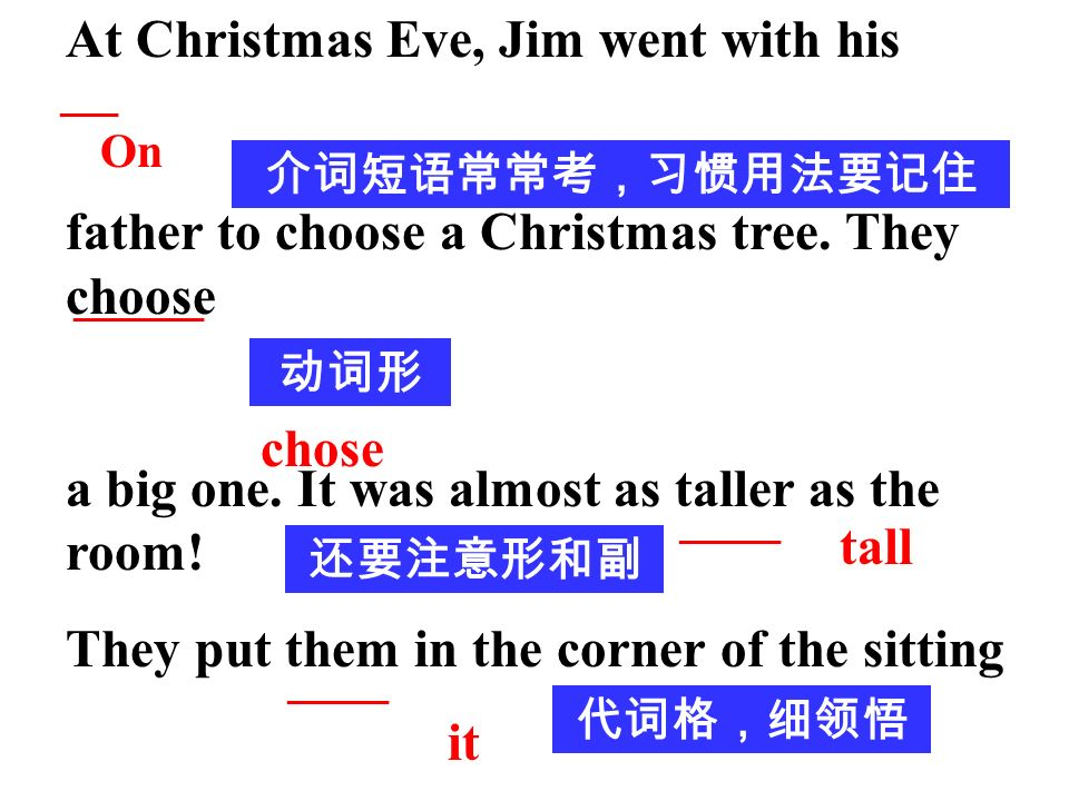 At Christmas Eve, Jim went with his father to choose a Christmas tree.