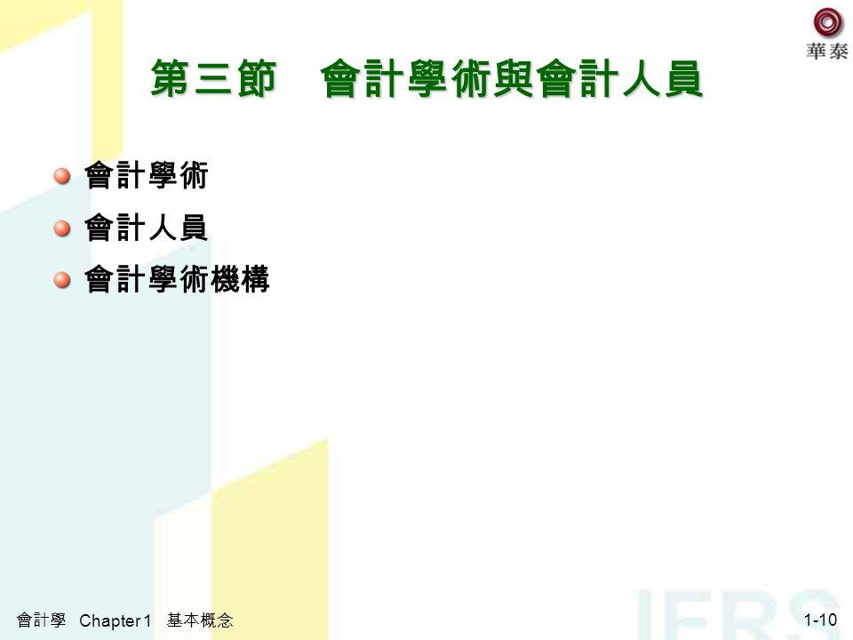 會計學 Chapter 1 基本概念 1-10 第三節 會計學術與會計人員 會計學術 會計人員 會計學術機構