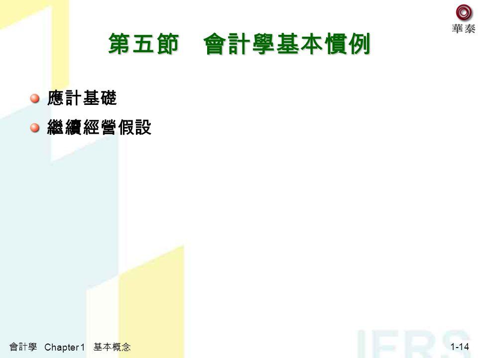 會計學 Chapter 1 基本概念 1-14 第五節 會計學基本慣例 應計基礎 繼續經營假設