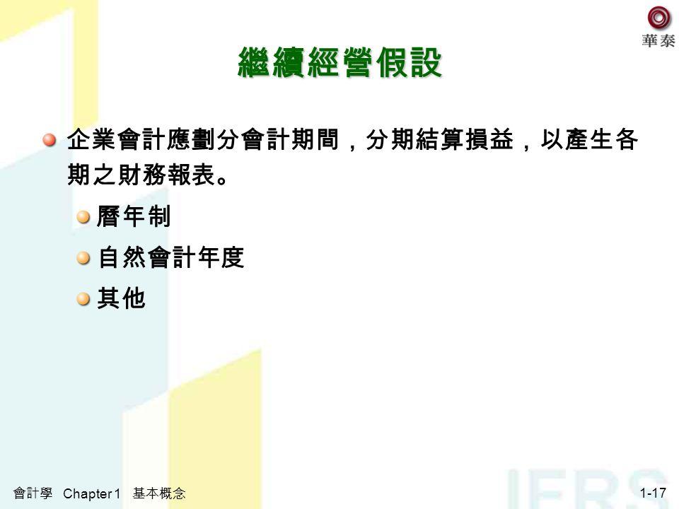 會計學 Chapter 1 基本概念 1-17 企業會計應劃分會計期間,分期結算損益,以產生各 期之財務報表。 曆年制 自然會計年度 其他 繼續經營假設