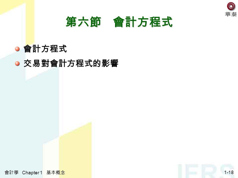 會計學 Chapter 1 基本概念 1-18 第六節 會計方程式 會計方程式 交易對會計方程式的影響