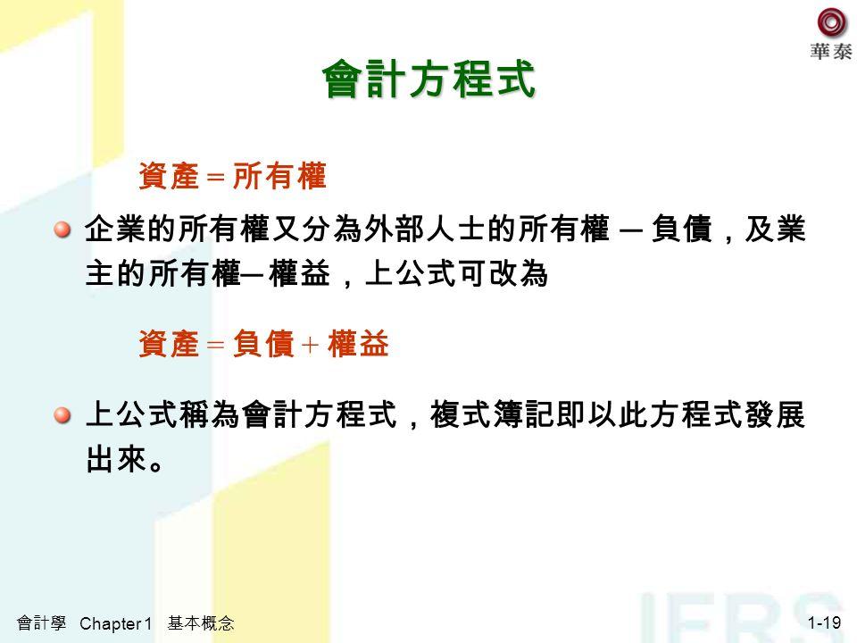 會計學 Chapter 1 基本概念 1-19 會計方程式 資產 = 所有權 企業的所有權又分為外部人士的所有權 ─ 負債,及業 主的所有權 ─ 權益,上公式可改為 資產 = 負債 + 權益 上公式稱為會計方程式,複式簿記即以此方程式發展 出來。