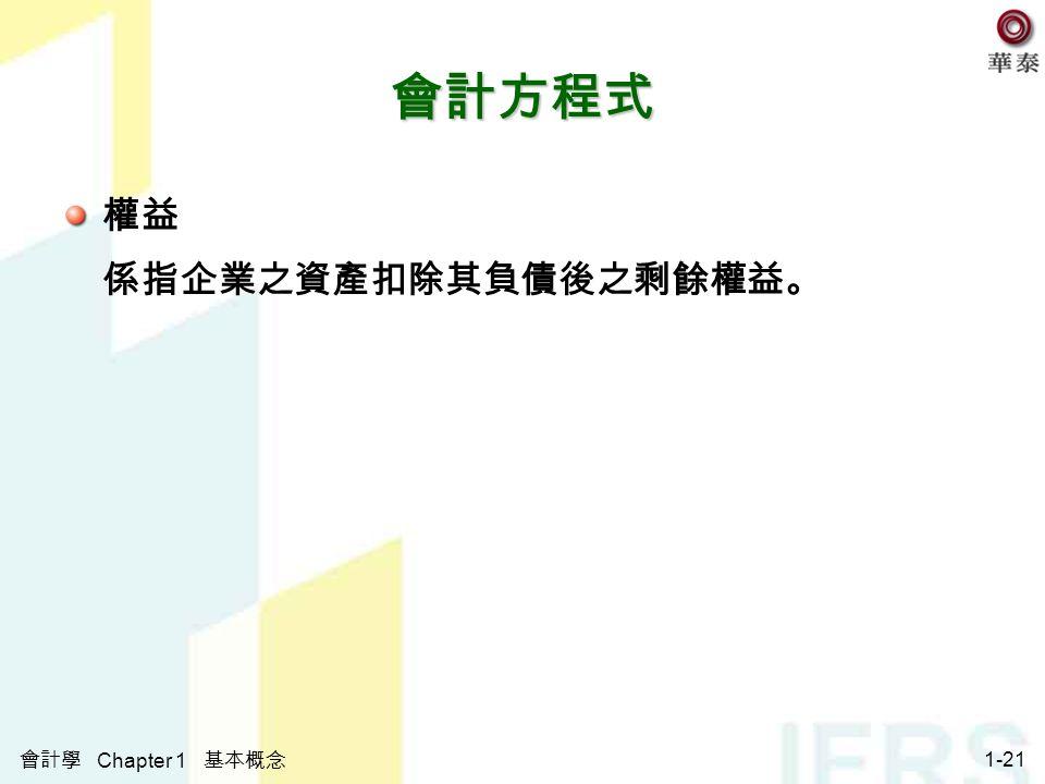 會計學 Chapter 1 基本概念 1-21 會計方程式 權益 係指企業之資產扣除其負債後之剩餘權益。