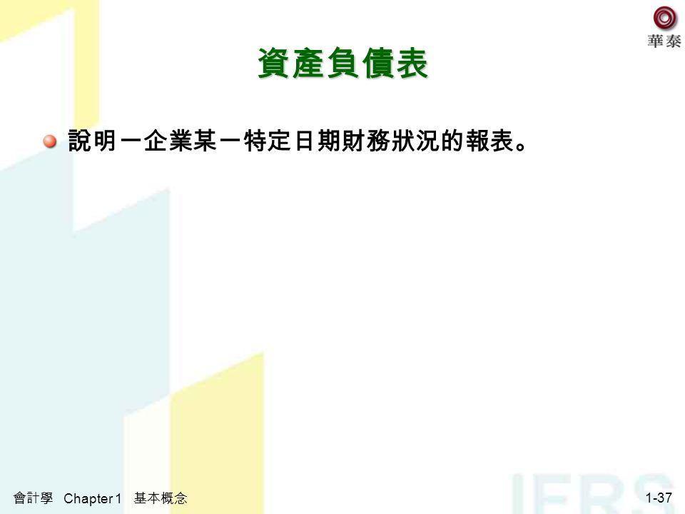 會計學 Chapter 1 基本概念 1-37 資產負債表 說明一企業某一特定日期財務狀況的報表。