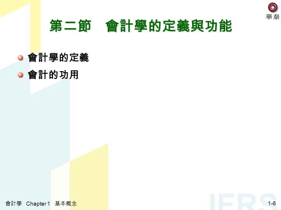 會計學 Chapter 1 基本概念 1-6 第二節 會計學的定義與功能 會計學的定義 會計的功用