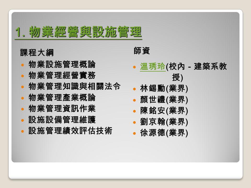 1. 物業經營與設施管理 1.
