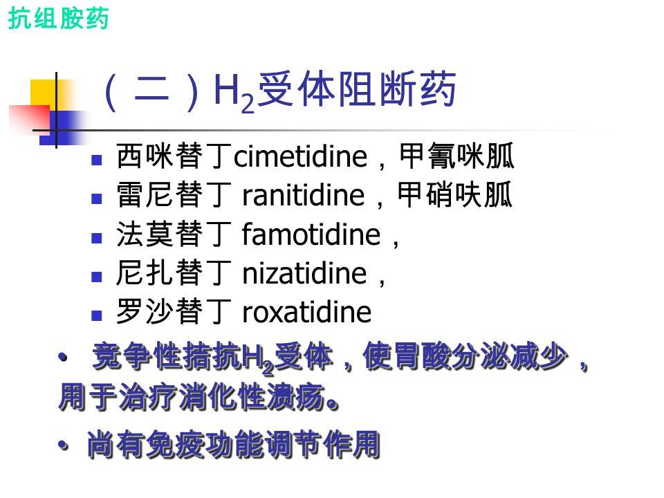 (二) H 2 受体阻断药 西咪替丁 cimetidine ,甲氰咪胍 雷尼替丁 ranitidine ,甲硝呋胍 法莫替丁 famotidine , 尼扎替丁 nizatidine , 罗沙替丁 roxatidine 竞争性拮抗 H 2 受体,使胃酸分泌减少, 用于治疗消化性溃疡。 尚有免疫功能调节作用 尚有免疫功能调节作用 竞争性拮抗 H 2 受体,使胃酸分泌减少, 用于治疗消化性溃疡。 尚有免疫功能调节作用 尚有免疫功能调节作用 抗组胺药