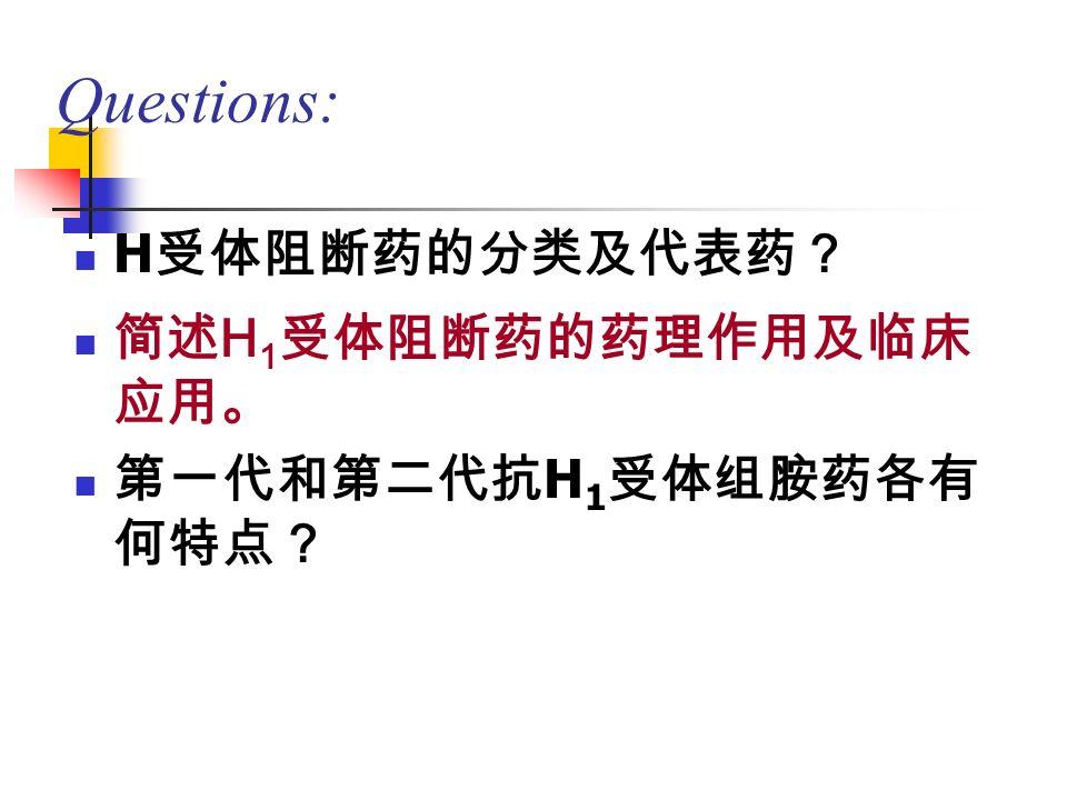 Questions: H 受体阻断药的分类及代表药? 简述 H 1 受体阻断药的药理作用及临床 应用。 第一代和第二代抗 H 1 受体组胺药各有 何特点?