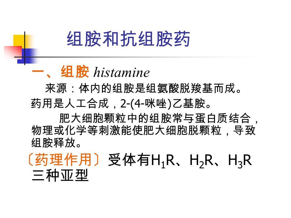 组胺和抗组胺药 一、组胺 histamine 来源:体内的组胺是组氨酸脱羧基而成。 药用是人工合成, 2-(4- 咪唑 ) 乙基胺。 肥大细胞颗粒中的组胺常与蛋白质结合, 物理或化学等刺激能使肥大细胞脱颗粒,导致 组胺释放。 〔药理作用〕受体有 H 1 R 、 H 2 R 、 H 3 R 三种亚型