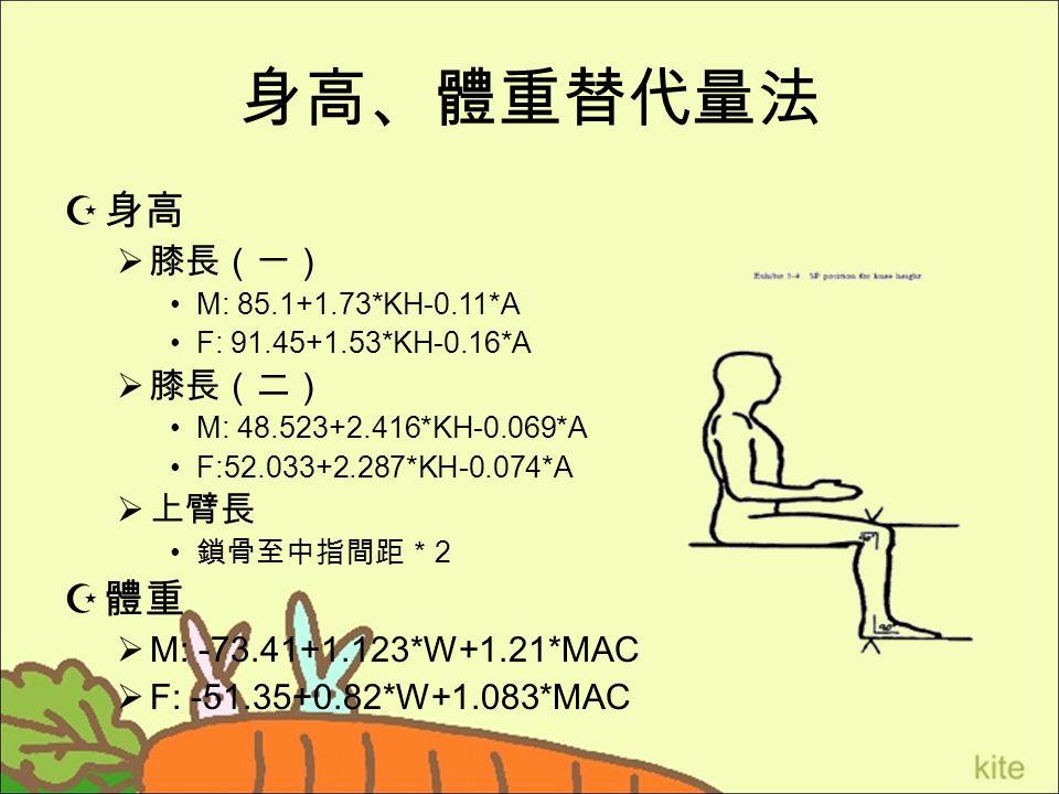 身高、體重替代量法  身高  膝長(一) M: 85.1+1.73*KH-0.11*A F: 91.45+1.53*KH-0.16*A  膝長(二) M: 48.523+2.416*KH-0.069*A F:52.033+2.287*KH-0.074*A  上臂長 鎖骨至中指間距* 2  體重  M: -73.41+1.123*W+1.21*MAC  F: -51.35+0.82*W+1.083*MAC