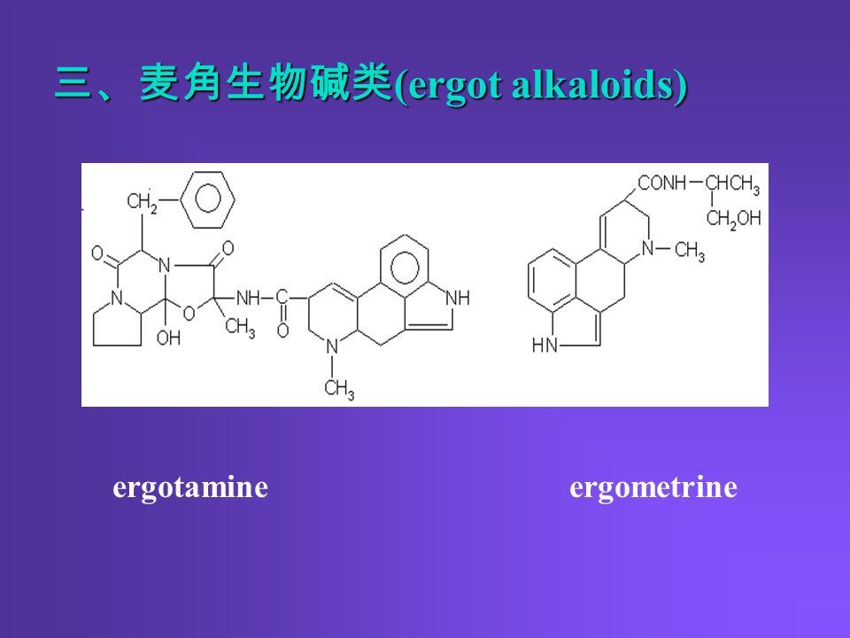 三、麦角生物碱类 (ergot alkaloids) ergotamine ergometrine