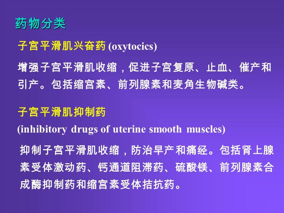 药物分类 增强子宫平滑肌收缩,促进子宫复原、止血、催产和 引产。包括缩宫素、前列腺素和麦角生物碱类。 抑制子宫平滑肌收缩,防治早产和痛经。包括肾上腺 素受体激动药、钙通道阻滞药、硫酸镁、前列腺素合 成酶抑制药和缩宫素受体拮抗药。 子宫平滑肌抑制药 (inhibitory drugs of uterine smooth muscles) 子宫平滑肌兴奋药 (oxytocics)