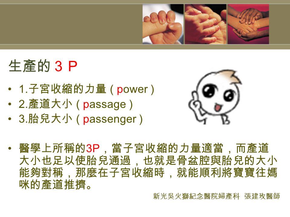 生產的3P 1. 子宮收縮的力量 ( power ) 2. 產道大小 ( passage ) 3.