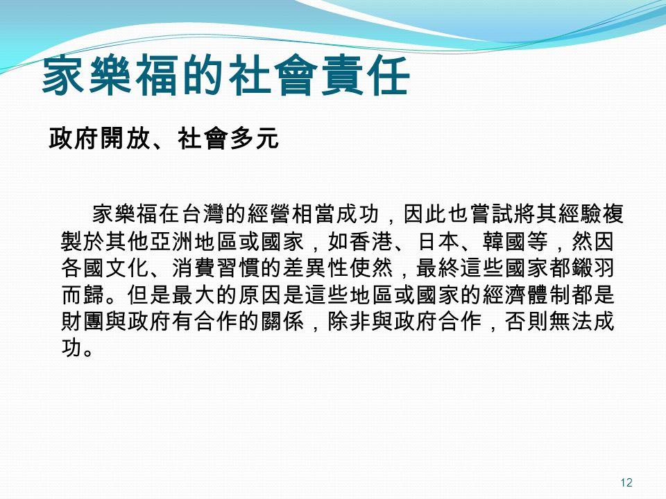 12 政府開放、社會多元 家樂福在台灣的經營相當成功,因此也嘗試將其經驗複 製於其他亞洲地區或國家,如香港、日本、韓國等,然因 各國文化、消費習慣的差異性使然,最終這些國家都鎩羽 而歸。但是最大的原因是這些地區或國家的經濟體制都是 財團與政府有合作的關係,除非與政府合作,否則無法成 功。 家樂福的社會責任