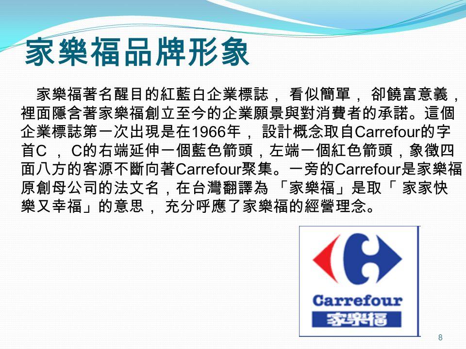 8 家樂福著名醒目的紅藍白企業標誌, 看似簡單, 卻饒富意義, 裡面隱含著家樂福創立至今的企業願景與對消費者的承諾。這個 企業標誌第一次出現是在 1966 年, 設計概念取自 Carrefour 的字 首 C , C 的右端延伸一個藍色箭頭,左端一個紅色箭頭,象徵四 面八方的客源不斷向著 Carrefour 聚集。一旁的 Carrefour 是家樂福 原創母公司的法文名,在台灣翻譯為 「家樂福」是取「 家家快 樂又幸福」的意思, 充分呼應了家樂福的經營理念。 家樂福品牌形象