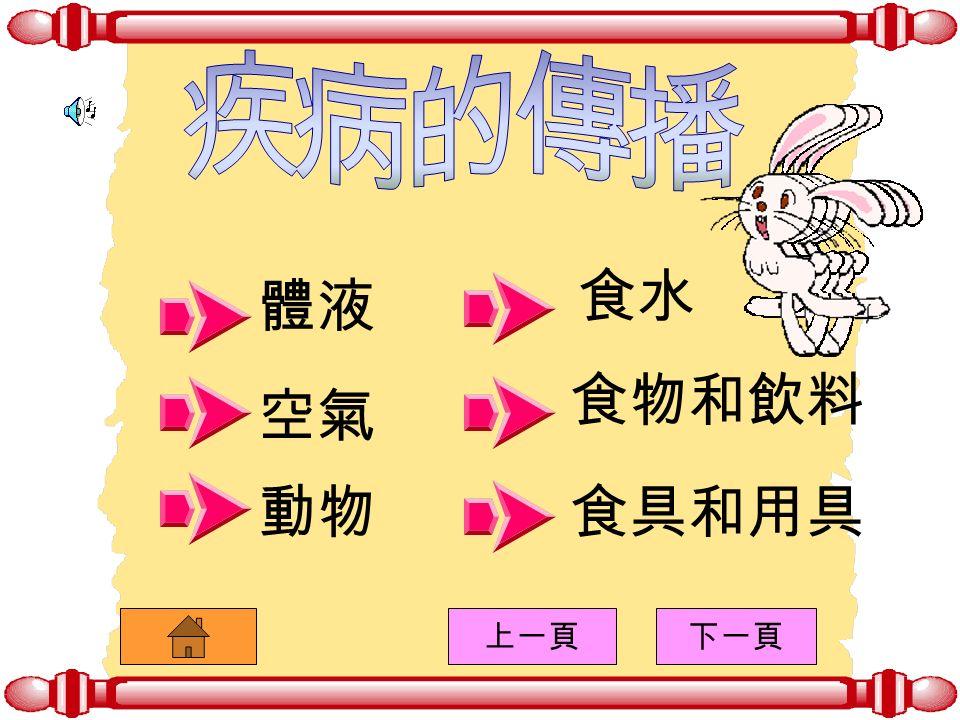 傷風 流行性感冒 砂眼 頭癬 ( 皮膚病 ) 請按以下的圖形來看其特徵: 上一頁下一頁