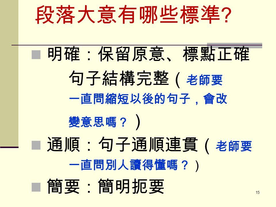 段落大意有哪些標準 明確:保留原意、標點正確 句子結構完整( 老師要 一直問縮短以後的句子,會改 變意思嗎? ) 通順:句子通順連貫( 老師要 一直問別人讀得懂嗎?) 簡要:簡明扼要 15