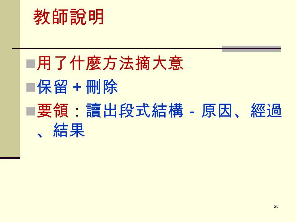 教師說明 用了什麼方法摘大意 保留+刪除 要領:讀出段式結構-原因、經過 、結果 20