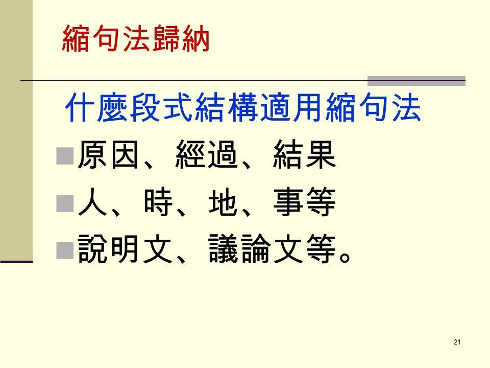 縮句法歸納 什麼段式結構適用縮句法 原因、經過、結果 人、時、地、事等 說明文、議論文等。 21