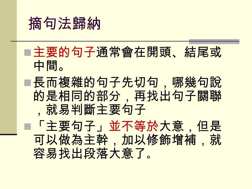 摘句法歸納 主要的句子通常會在開頭、結尾或 中間。 長而複雜的句子先切句,哪幾句說 的是相同的部分,再找出句子關聯 ,就易判斷主要句子 「主要句子」並不等於大意,但是 可以做為主幹,加以修飾增補,就 容易找出段落大意了 。