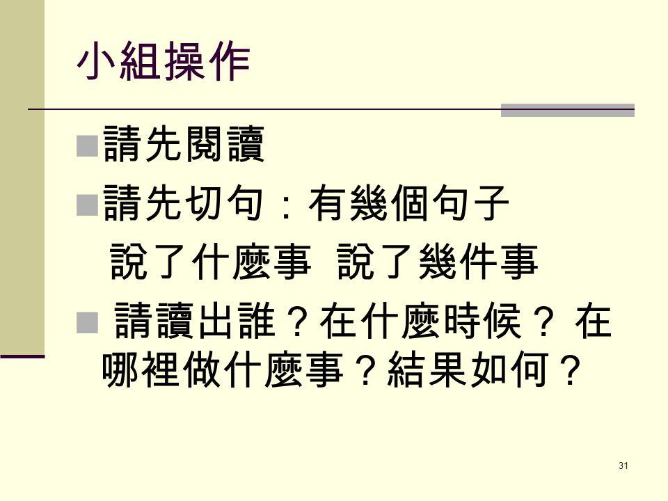 小組操作 請先閱讀 請先切句:有幾個句子 說了什麼事 說了幾件事 請讀出誰?在什麼時候? 在 哪裡做什麼事?結果如何? 31