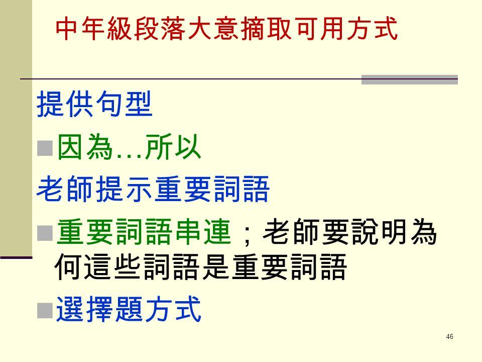 中年級段落大意摘取可用方式 提供句型 因為 … 所以 老師提示重要詞語 重要詞語串連;老師要說明為 何這些詞語是重要詞語 選擇題方式 46