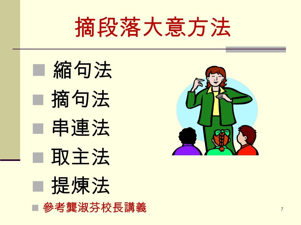 摘段落大意方法 縮句法 摘句法 串連法 取主法 提煉法 參考龔淑芬校長講義 7